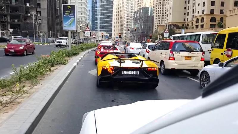 Lamborghini Aventador Roadster on fire