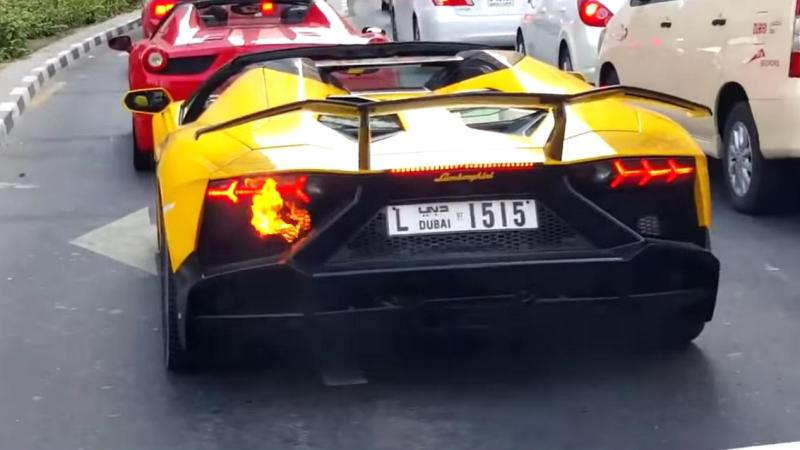 Lamborghini Aventador Roadster on fire