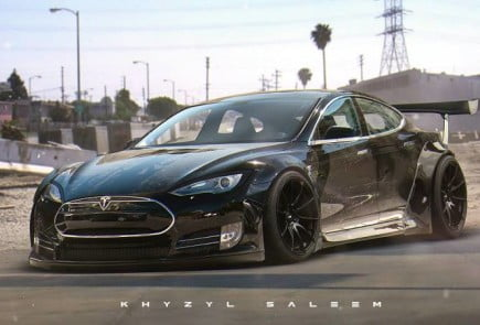 Liberty Walk Tesla Model S Rendering